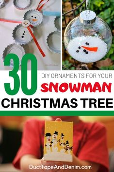 Anyone else have a snowman Christmas tree? Here's a list of easy DIY snowman ornaments you can make for it. Diy Snowman Decorations, Snowman Ornaments, Diy Christmas Ornaments, Holiday Crafts, Christmas Crafts, Christmas Decorations, Snowman Tree, Holiday Decorating, Christmas Snowman