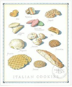 Cook's Illustrated back cover art: Italian Cookies Italian Cookie Recipes, Italian Cookies, Italian Desserts, Italian Biscuits, Italian Bakery, Italian Pastries, Cookie Desserts, Just Desserts, Delicous Desserts