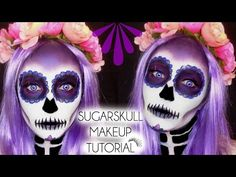 HALLOWEEN SUGARSKULL - DAY OF THE DEAD Makeup Tutorial | Laura Sommerville - YouTube