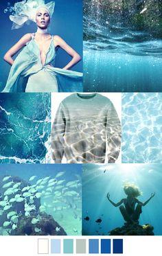S/S '16 OCEAN BLUES - colour palette inspiration - white --> pastel blues --> dark blue...x