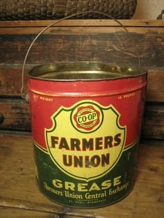 Grandpa's Old `Farmers Union' Grease Advertising Tin Pail w/ Bail Handle  $49