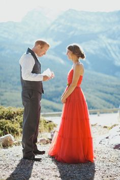 Envy inspiring vintage red gown elopement (a steal at one hundo $)