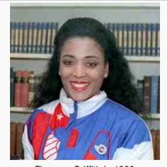 Florence Delorez Griffith Joyner, also known as Flo-Jo, was an American track and field athlete. She is considered the fastest woman of all time based on the fact that the world records she set in 1988 for both the 100 m and 200 m still stand. Flo Jo, Carl Lewis, Simone Biles, Michael Schumacher, Zinedine Zidane, Serena Williams, Roger Federer, Katie Ledecky, Michael Jordan