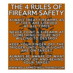 The Four Rules of Firearm Safety - Poster Gun Rights - Defend Them Through Education Ignorance = Fear