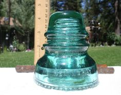 Aqua blue green Hemingray glass Insulator - collectible, pretty glass