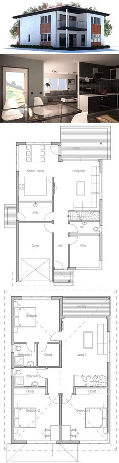 Modern House Plan with three bedrooms and two living areas. Suits well to narrow lot. Open and efficient room planning.