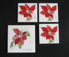BLOCK-SPAL-Portugal-Watercolors-POINSETTIA-1-TRIVET-3-COASTERS-Goertzen Blocks, Dinnerware Ebay, Poinsettia, Coasters, Cards, Ebay