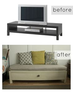 ikea hack upcycled tv stand to storage bench, chalk paint, painting, repurposing upcycling