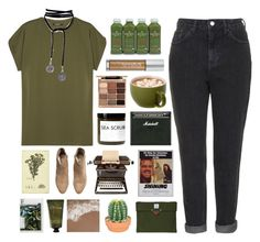 """""""Untitled #2739"""" by tacoxcat ❤ liked on Polyvore featuring Balmain, Topshop, Fig+Yarrow, Stila, Urban Decay, Poste, H&M, The French Bee and Olivina"""
