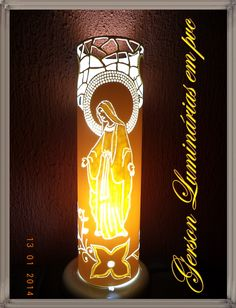 .Nossa Senhora Pvc Pipe Crafts, Diy And Crafts, Led Lamp, Lamps, Pvc Projects, Religious Art, Dremel, Christmas Lights, Light Bulb