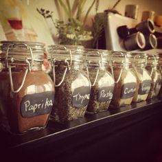My DIY spice rack! Just hobby lobby glasses and chalk board paint!