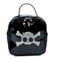 Silver Glitter Skull and Crossbones Purse Handbag ($6.99) ❤ liked on Polyvore featuring bags, handbags, skull bag, glitter purse, silver purse, skull purse and skull handbag