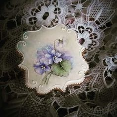 Hand painted violets by Teri Pringle Wood