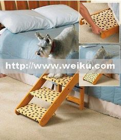 Wooden Pet Staircase Steps Adjustable Stairs Cat Dog Ramp NEW