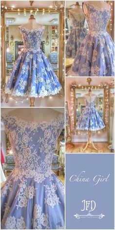 blue silk lace tea length wedding dress with style full skirts and net petticoat in ivory French lace and china-blue silk Wedding Dress With Pockets, Tea Length Wedding Dress, Wedding Dress Styles, Designer Wedding Dresses, Diy Clothes Design, Calf Length Dress, Vintage Style Dresses, Beautiful Gowns, Dream Dress