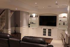 tv built in finished basement