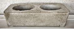 Maceta de cemento natural rectangular, doble