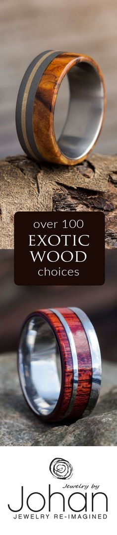 Discover our natural, handmade wood wedding bands. Pick out a pre-designed ring or create your own custom wedding bands by choosing from over 100 exotic wood types and multiple metal options.