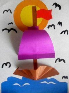 Sea Crafts, Diy And Crafts, Arts And Crafts, Projects For Kids, Diy For Kids, Crafts For Kids, 3d Paper Crafts, Diy Paper, Toddler Crafts