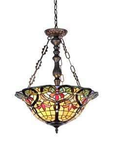 Chloe 'BERTRAM' Tiffany-style Victorian 3 Light Inverted Ceiling Pendant 18' Shade