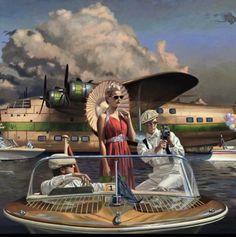 (notitle) - Art I Like - Poster Art, Art Deco Posters, Retro Art, Vintage Art, Illustrations, Illustration Art, Florence Academy Of Art, Inspiration Art, Airplane Art