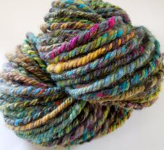 Jewel Cave Handspun Yarn 3 Ply Rope Bulky by RainbowTwistShop, $46.75