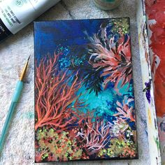Updates from TinaVuStudio on Etsy Coral Painting, Seahorse Painting, Bubble Painting, Plant Painting, Bubble Art, Acrilic Paintings, Simple Acrylic Paintings, Acrylic Artwork, Acrylic Painting Canvas
