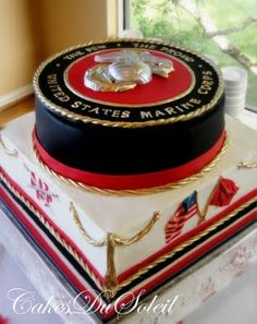 Marine Corps cake. (remember this but with Navy seal and flag)