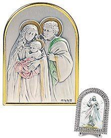 """St. Mary, St. Joseph & Jesus, Holy Family Silver Crystal Framed Religious Artwork. Italy's Genuine Sterling Silver Images Are Cast in a Beautiful Setting of Swarovski® Crystals, Mother of Pearl, or Enamel Tabletop Frames. Sterling/silver Plate/crystals -- 2"""" W X 3"""" H -- Series 4e Silver Crystal by Value Line, http://www.amazon.com/dp/B00D6QE4PM/ref=cm_sw_r_pi_dp_7mESrb1XA718C"""