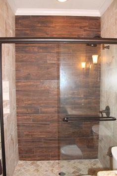 Wood Tile Shower - contemporary - bathroom - dallas - by McKinney Homes LLC