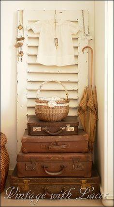 Vintage Leather Luggage - via TIMEWASHED: Blissful Whites Wednesday!