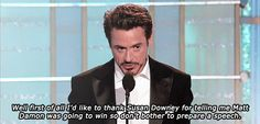 Robert Downey - best award speech ever.