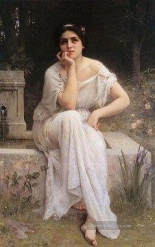 Charles Amable Lenoir Gemälde - Meditation 1899 realistische Porträts Mädchen Charles Amable Lenoir