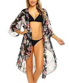 f3cc9ec533c9b Cover-Ups Swimsuits & Bikinis · wearella Women's Open Front Cover Ups  Floral Casual Kimono Cardigan Long Bathing Suit Coverup Black XL
