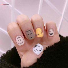 cute nail designs for every nail 1 Cartoon Nail Designs, Cute Nail Designs, Korean Nail Art, Korean Nails, Nail Manicure, Toe Nails, Snoopy Nails, Animal Nail Art, Happy Nails