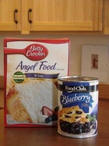 This is SOOO good and good for you! 2 ingredient cake Mix together, 1 Angel Food cake mix (dry) and 1, 20 or 22 ounce can of fruit pie filling. That's it! Bake in an ungreased 9x13 pan at 350 for 28-30 minutes. It will puff up.    My family loves this...You can make it with about any pie filling and crush pineapple......No fuss...no mess...and a great treat after dinner...