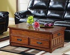 Ashley Furniture Signature Design - Cross Island Coffee Table with Storage - Cocktail Height - Rectangular - Medium Brown