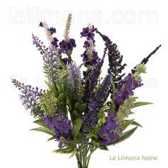 Plantas artificiales con flores. Ramas artificiales bush verónica lavanda