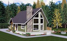 #AFrame #HousePlan 99946 has 1172 sq. ft. of total living space, 2 bedrooms and 2 full bathrooms.