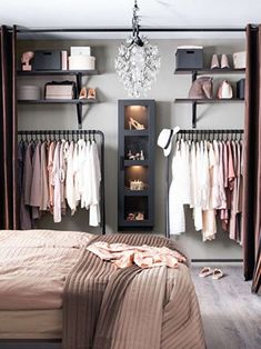 Debbie: I like the open closet for main house. Considering on locker room design in a small space bedroom could be a hard problem to solve. You should find ideas and inspirations on it carefully. Closet Designs, Bedroom Designs, New Room, Bedroom Decor, Teen Bedroom, Master Bedroom, Bedroom Wardrobe, No Closet Bedroom, Bedroom 2018