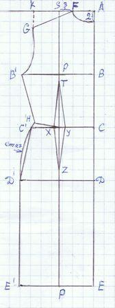 metà davanti    AF = 1/12 circonferenza torace     AB = 1/4 circonferenza torace     BB' = 1/4 circonf. torace + cm.3     AC = lunghezza...
