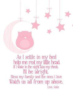 Nursery Decor Bedtime Prayer with Sleeping Owl Owl Nursery image 2 Childrens Bedtime Prayer, Bedtime Prayers For Kids, Toddler Bedtime, Baby Prayers, Owl Nursery, Nursery Decor, Nursery Crafts, Wall Decor, Prayer For Baby