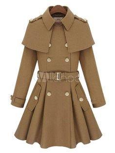 美しい女性のコートを形作るウール ブレンド普及首長袖 - Milanoo.jp