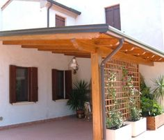 Pergola at the entrance gives your house a very nice impression at the . - Pergola at the entrance gives your house a very nice impression at the entrance gives your - Pergola Carport, Backyard Pergola, Patio Roof, Gazebo, Lean To Carport, Pergola Attached To House, Deck With Pergola, Outdoor Pergola, Pergola Lighting
