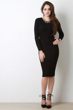 Rib Knit Long Sleeve Midi Dress