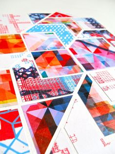 Geometric collage with screen-printed and digitally designed papers, by Rachel Parker http://rachelparkerdesigns.co.uk