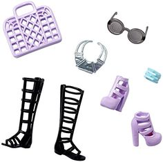 Barbie doll has the best accessories to put together a fabulous outfit for every occasion you can imagine! The fabulous accessory packs are inspired by real teen trends Each pack Includes two pairs of shoes (one heeled and one flat), one purse and three pieces that include jewelry and sunglasses...   toys4mykids.com