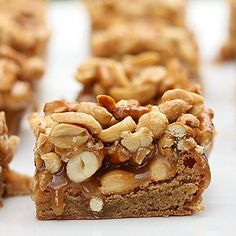 . Butterscotch Blondie Bars with Peanut-Pretzel Caramel Recipe from Grandmothers Kitchen.