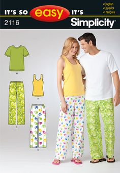 Simplicity Misses and Mens pants and knit top and Misses Knit tank top 2116