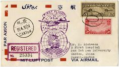 """50 C. airmail 1937 together with 15 C. airmail on superb Reco.-Erstflugbrief """"Honolulu - Hong Kong"""" 29. 4. 37 (postage for two stages 50 C. and Reco.-Gebühr 15 C. ) . Michel no. 401 and so on."""